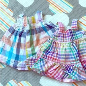 Baby Gap checkered dresses EUC size 0-3 months